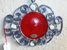 Tiffany Glas Fensterbild  rote Scheibe mit Glasperlen und Schnörkeln