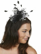 1 Racing Spring Carnival Melbourne Cup Feather Fascinator Headband Black White