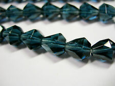 25 Montana Blue Czech Glass Faceted Bell Teardrop Beads 9x7mm