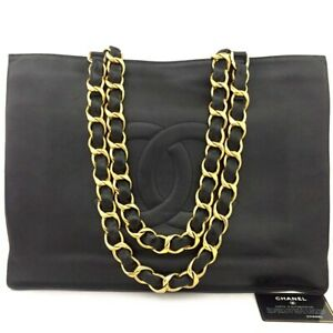 CHANEL CC Logo Lambskin Chain Large Shoulder Tote Bag Black /81203