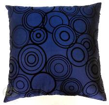 deepblue with black circles Raised Flocked Satin Cushion Cover/Pillow case