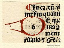 "Inkunabel -/Alter Druck-Fragment, gemalte Initiale ""D"" um 1500"