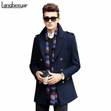 Wool Peacoat Long Double Breasted Coats & Jackets for Men