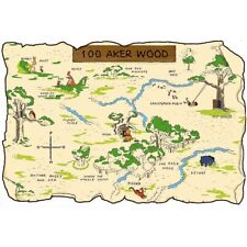 WINNIE THE POOH 100 ACRE MAP (COLOR) REPRODUCTION PRINT POSTER 24 X 24 Inches