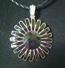 Flower Black pendant - Tori Spelling inspired collection on leather necklace