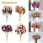 21 Head Artificial Rose Bouquet Silk Fake Flowers Leaf Wedding Party Home Decor