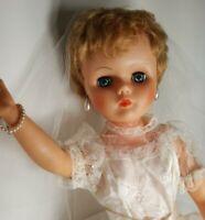 "Vintage Supermarket Doll Vinyl 24"" ""My Favorite Doll"" 1950 Bride Dress Shoes Box"