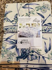 APRIL CORNELL BAMBOO GARDEN FLORAL COLORS 60X84 RECTANGULAR TABLECLOTH 6-8 NWT