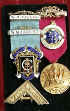 More details for 2 masonic medals / jewels. 1 silver, 1 heavy 9 carat gold, with diamonds, ruby