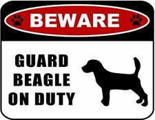 Beware Guard Beagle (Silhouette) on Duty Laminated Dog Sign