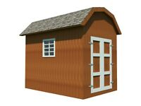 Storage Shed Plans DIY Backyard Utility House Building Plan Gambrel Roof 8'x12'