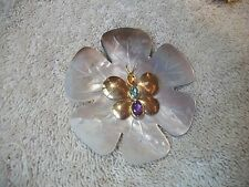 VINTAGE Elegant UNIQUE Pin Brooch MOP Goldtone Butterfly w Gemstones WOW!
