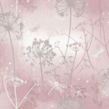 Glitter Dandelion Dragonfly. Arthouse Fantasia Damselfly Blush Wallpaper 692305