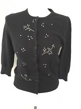 TIBI Angora Wool Blend Sequin Black Cardigan Sweater Size S