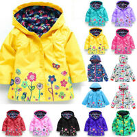 Kids Girls Floral Hooded Raincoat Windbreaker Coat Jacket Cartoon Outerwear 2-8Y