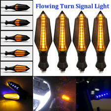 4x Motorcycle Blue 12-LED Turn Signals Indicator Light Amber Sequential Flowing