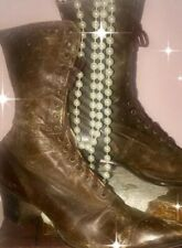 Antique Victorian Ladies' Shoes Lace-Up Steampunk High Top Leather Boots