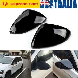1 PAIR MIRROR COVER CAP HOUSING for VW GOLF GTI MK7 MK7.5 2013-2019 Gloss Black