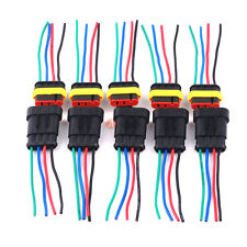 5 Pack 4 Pin 2 Way Car Boat Waterproof Electrical Connectors Plug Wire AWG
