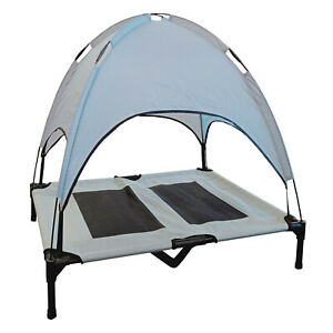 DELUXE ELEVATED DOG BED with ROOF CANOPY + BAG - DOUBLE LAYER  caravan motorhome