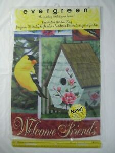 """New Welcome Friends 12"""" x 18"""" Decorative Garden Flag Yellow Finch Spring 2 Sides"""