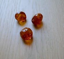 12 Gram Cognac Natural Baltic Amber Loose Round beads with holes 3 beads