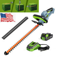 """WORKPRO 20V 20"""" Dual Action Blade Cordless Hedge Trimmer 2.0 AH Battery&Charger"""