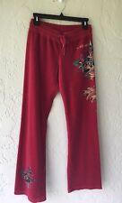 Women's Ed Hardy Lounge Red Velour Sweatpants Rhinestones Koi & Roses Sz M