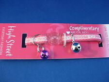 Cat Collar -  High Street Princess Pink, Safety Clip, Pink Bell & Silver Bell