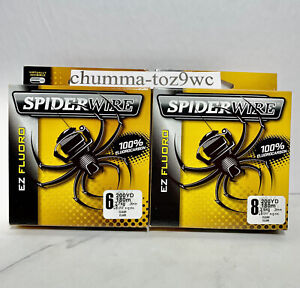 SPIDERWIRE EZ FLORO 100%Fluorocarbon 6+8lb/200yds,(Lot Of 2) Bass Fishing,(NWT!)