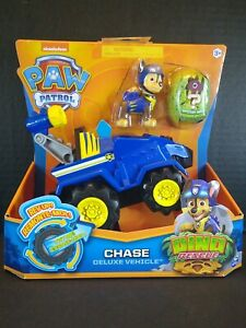 NEW Paw Patrol DINO RESCUE Chase Deluxe Rev Up Vehicle & Figure Nick Jr