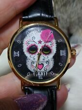 WOMENS GOLDTONE MARDI GRAS SKULL WATCH-BLACK FAUX LEATHER BAND-ROMAN NOS