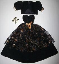 Vintage Barbie DOLL CLOTHES: Black & gold gown, dress, bolero jacket, shoes