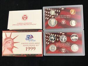 1999 US Mint Silver Proof Set w/ Box & COA