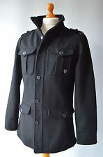 Mens Black, Fly 53, Fly Down Wool Blend Military Style Jacket, Size M, Medium.