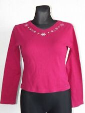 Tommy Hilfiger girls cotton long sleeve v-neck pink top size L 12 13 years