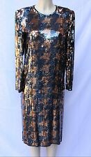 Vintage Argenti Silk Copper Black Houndstooth Long Sleeve Sequin Dress Size M L