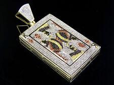 "Mens 10K Yellow Gold Genuine Diamond King Of Diamond Pendant Charm 1 1/3 Ct 1.9"""