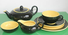Vintage 6 Piece Villeroy & Boch Yellow & Black Tea Set for One c.1950