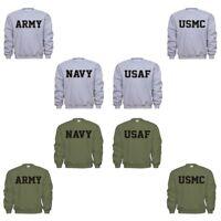 US Army Navy USAF Air Force USMC Marines PT Military Sweatshirt Sweat Shirt