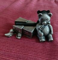 Vintage Miniature Pewter Teddy Bear Business Card/Picture Holder