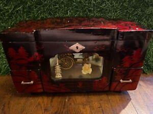 VINTAGE Black Lacquer Japanese Music Jewelry Box Geisha Rickshaw with Key