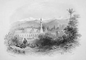 TURKEY View in Tarsus - 1854 Antique Print Engraving