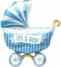 "40"" It's A Boy Baby Buggy Shaped Mylar Foil Balloon - For It's a Boy Baby Shower"