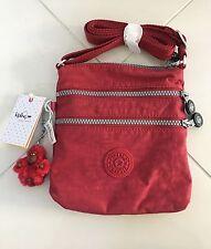 NWT KIPLING Alvar XS Crossbody Bag Travel Scarlet Red Nylon Monkey