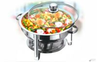 4.5 Litre Stainless Steel Round Chafing Dish Set Glass Lid Food Warmer