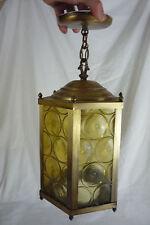 Vintage Brass & Amber Glass Panels Hexagon Hanging Light Lamp Ceiling Fixture