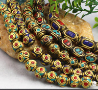 10pcs Handmade Tibetan Style Beads Brass with Coral and Turquoise Antique Golden