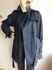BURBERRY WOMENS LARGE UK 16-18 (USA 16) SHORT NAVY TRENCH COAT JACKET RAINCOAT