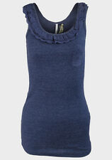 EX Chainstore Womens / Ladies Frill Neck Scoop Neck Vest Top (3 Colour Choices)